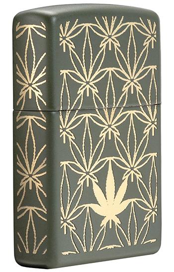 29589 Зажигалка Zippo Marijuana Pattern, Green Matte