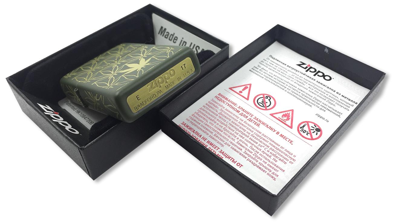 29589 Зажигалка Zippo Marijuana Pattern, Green Matte - заводской штамп на дне зажигалки