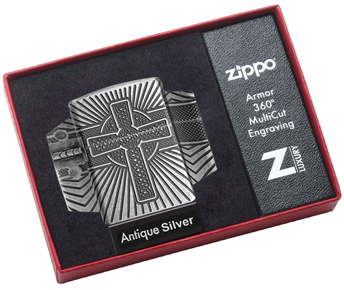 29667 Зажигалка Zippo Armor Celtic Cross Design, Antique Silver