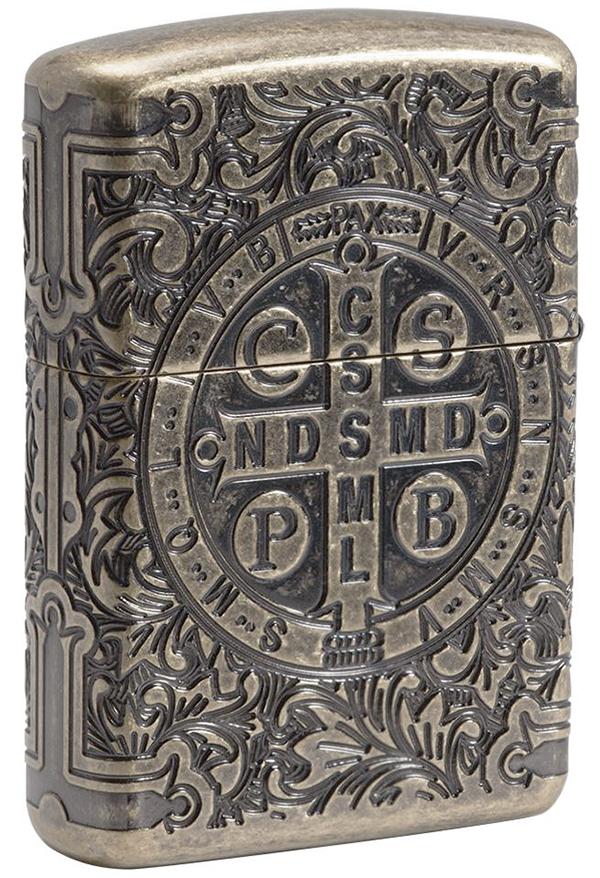 29719 Зажигалка Zippo St. Benedict Design, Armor Antique Brass - обратная сторона