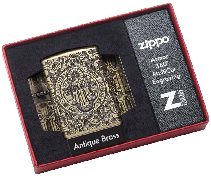 29719 Зажигалка Zippo St. Benedict Design, Armor Antique Brass