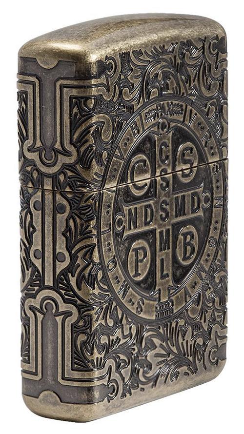 29719 Зажигалка Zippo St. Benedict Design, Armor Antique Brass - боковая сторона
