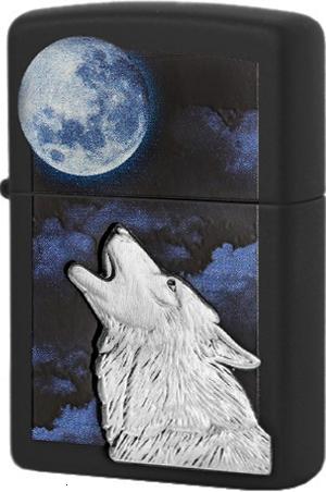 28879 Зажигалка Zippo Howling Wolf, Black Matte