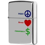 24714 Зажигалка Zippo Peace Love Prosperity, Polish Chrome