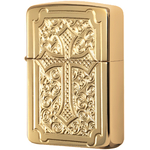 29436 Зажигалка Zippo Eccentric Cross Deep Carved, Armor Polish Brass