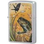 29391 Зажигалка Zippo Base Bird and Fish, Satin Chrome