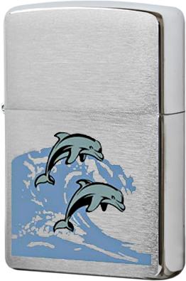 24501 Зажигалка Zippo SV-Dolphins, Brushed Chrome