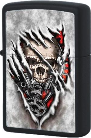 28882 Зажигалка Zippo Steampunk Skull, Black Matte