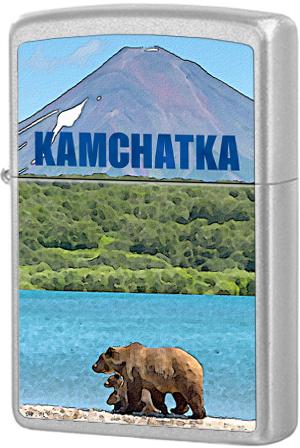 205 Зажигалка Zippo Kamchatka foto, Satin Chrome