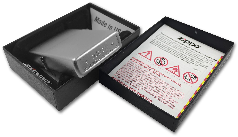 205 Зажигалка Zippo Satin Chrome штамп на донышке