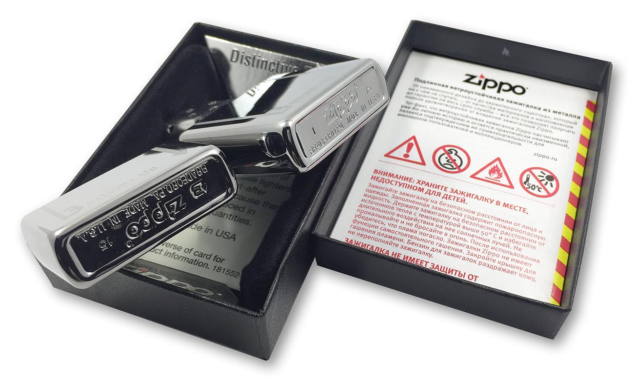 24383 Зажигалка Zippo Bottomz up Logo LTR, Polish Chrome заводской штамп на крышке и донышке