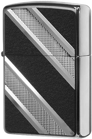 24872 Зажигалка Zippo Double Diagonal Diamond Emblem, Brushed Chrome