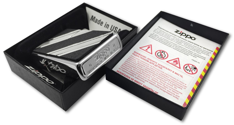 24872 Зажигалка Zippo Double Diagonal Diamond Emblem, Brushed Chrome штамп на донышке