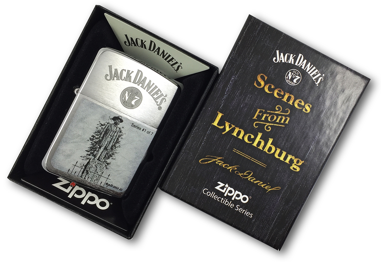 28736 Зажигалка Zippo 1941 Replica Statue of Jack Daniel, Brush Chrome в фирменной подарочной упаковке