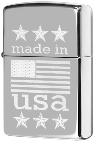 29430 Зажигалка Zippo Made in USA with Flag, Polish Chrome