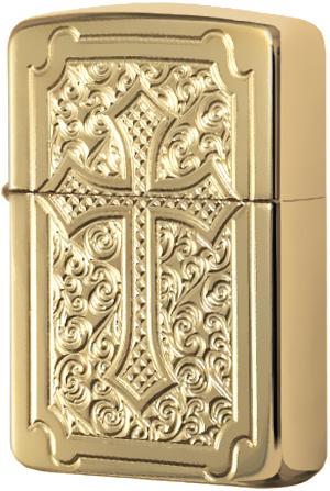 29436 Зажигалка Zippo Eccentric Cross Deep Carved, Armor Polish Brass