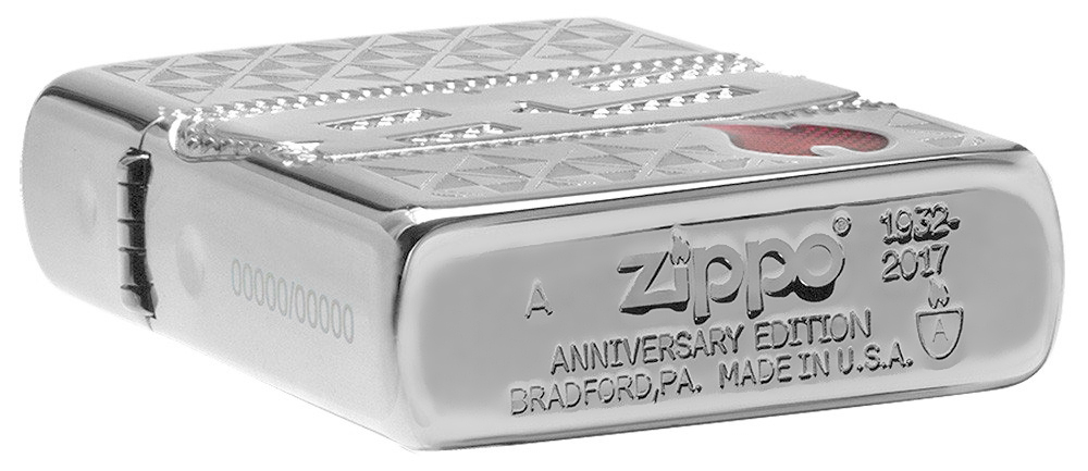 29442 Зажигалка Zippo 85th Anniversary Collectible, Armor Polish Chrome заводской индивидуальный штамп на донышке