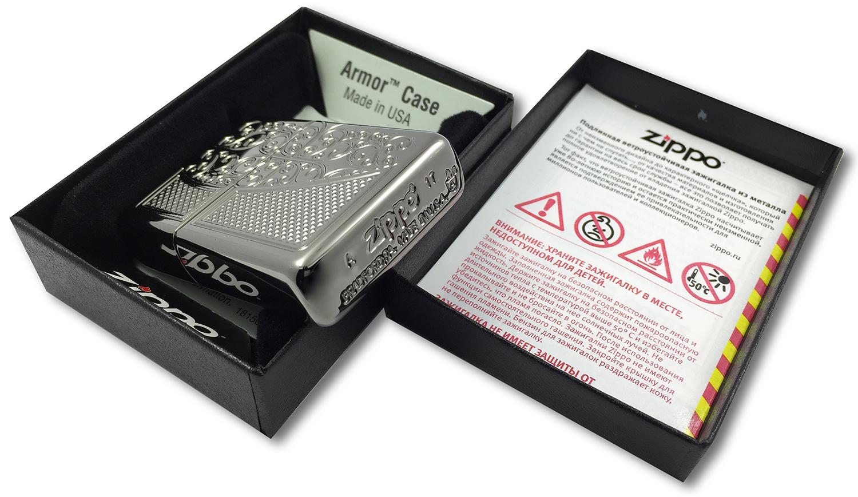 29498 Зажигалка Zippo Old Royal Filigree, Armor Black Ice, штамп на донышке