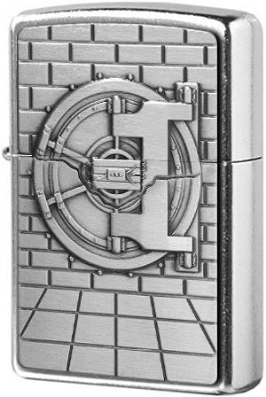 29555 Зажигалка Zippo Safe with Gold Cash Surprise Emblem, Street Chrome