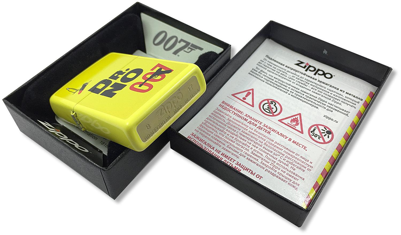 29565 Зажигалка Zippo James Bond 007, Lemon Yellow штамп на донышке