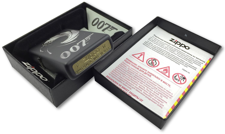 29566 Зажигалка Zippo James Bond 007, Black Matte, штамп на донышке