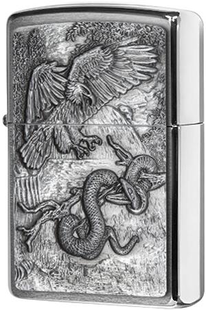 29637 Зажигалка Zippo Eagle vs Snake Emblem, Brushed Chrome