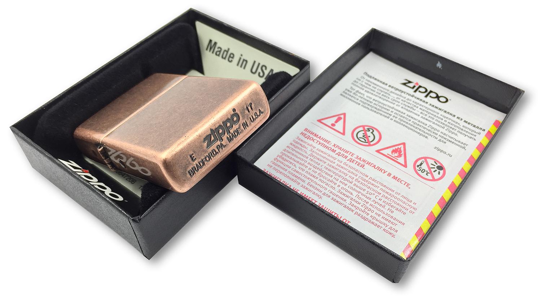 301FB Zippo Antique Copper штамп на дне зажигалки
