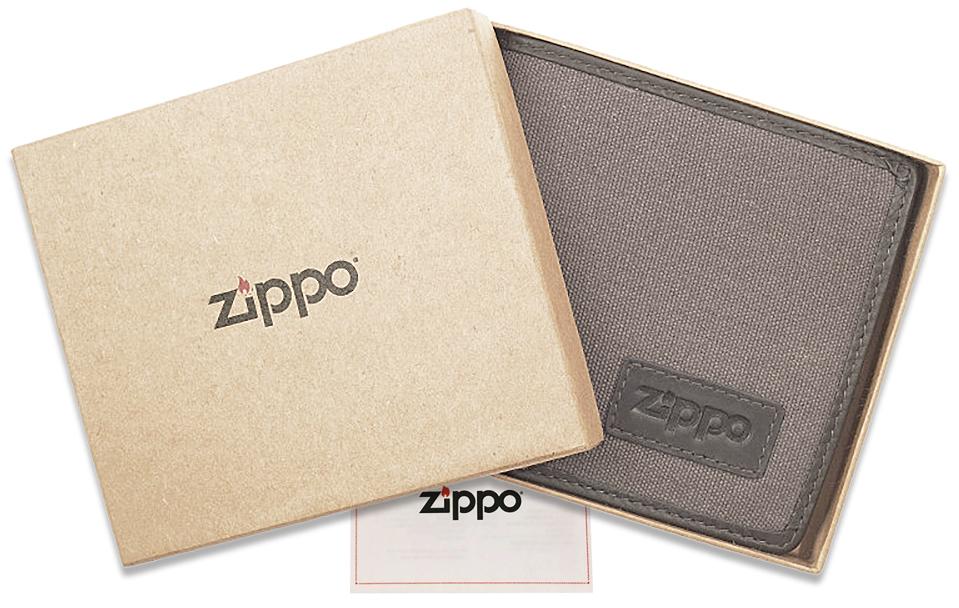 2005120 Портмоне Zippo Canvas and Leather Bi-fold, с монетницей - подарочная упаковка
