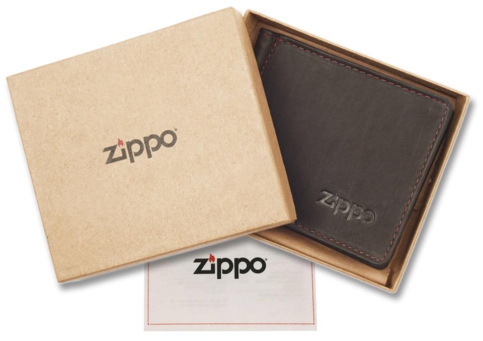 2005125 Зажим для денег Zippo Money Clip Wallet, Mocha Leather Bi-Fold - подарочная коробка из экологически чистых материалов