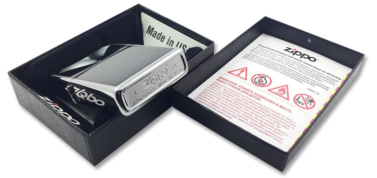 28273 Зажигалка Zippo BS Decollettage, Brushed Chrome - заводской штамп на дне зажигалки