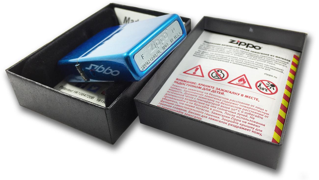 28341 Зажигалка Zippo Diamond Plate, Cerulean - штамп на донышке зажигалки