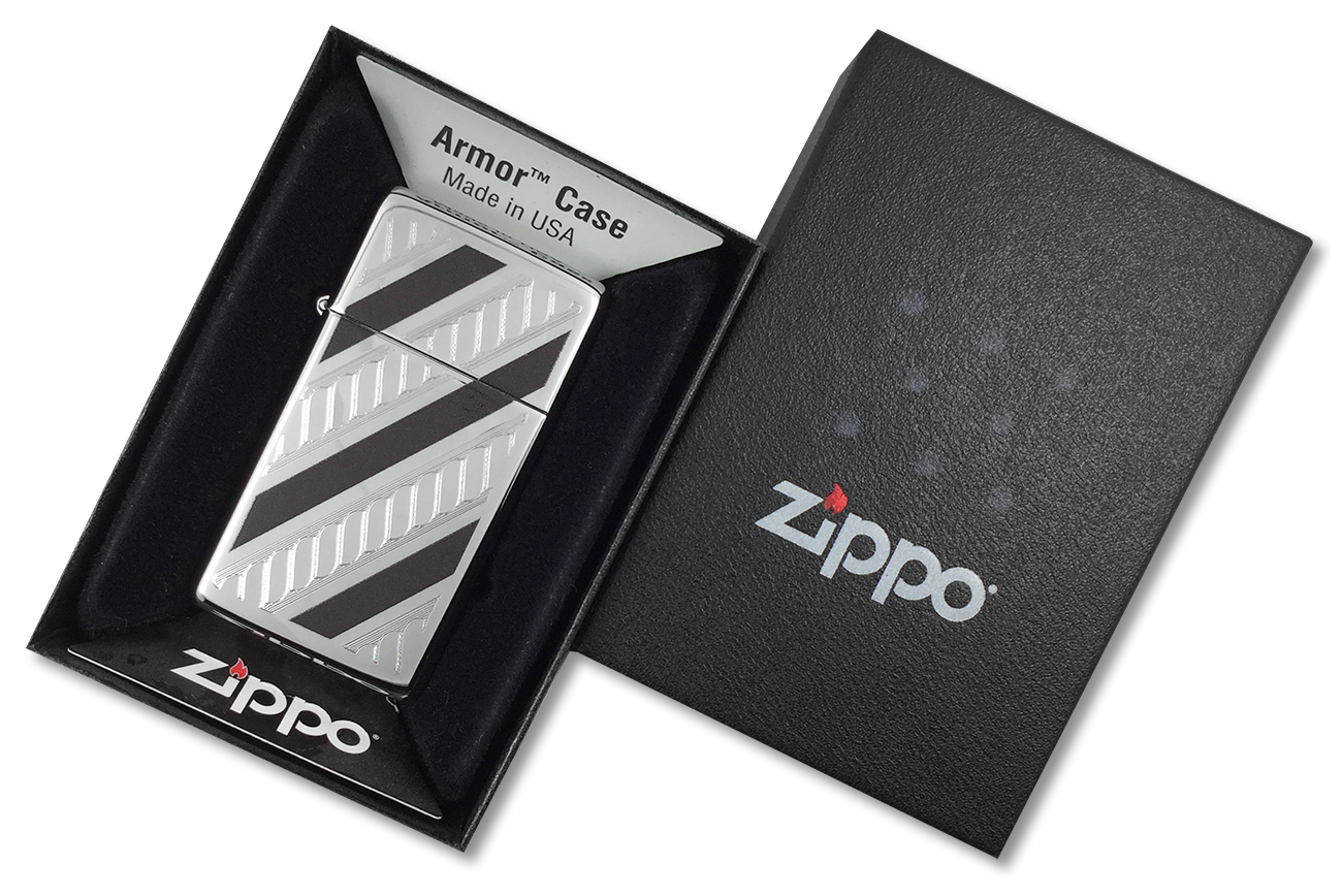 28810 Зажигалка Zippo Armor Slim Rope Design, Polish Chrome - в подарочной коробке
