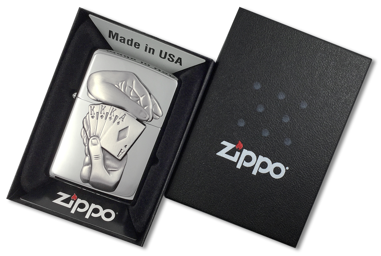 28837 Зажигалка Zippo Full House Emblem, Polish Chrome - в подарочной коробке зиппо