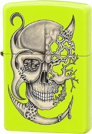 28887 Зажигалка Zippo Surreal Skull, Neon Yellow