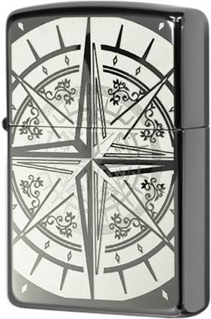 29232 Зажигалка Zippo Compass Bon Voyage, Black Ice