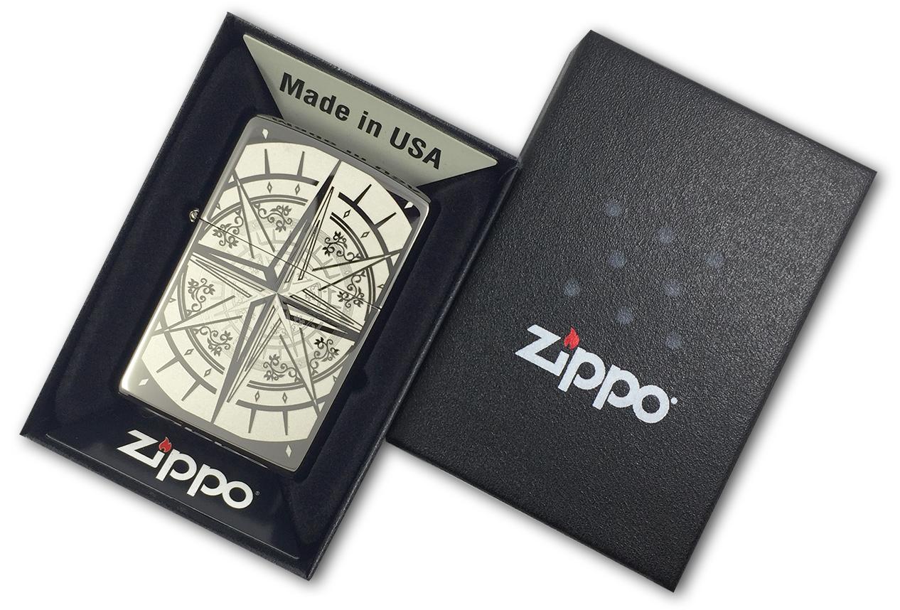 29232 Зажигалка Zippo Compass Bon Voyage, Black Ice - в подарочной коробке