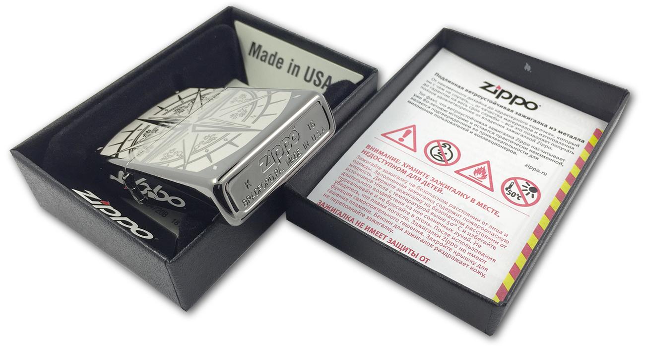 29232 Зажигалка Zippo Compass Bon Voyage, Black Ice - заводской штамп на дне зажигалки