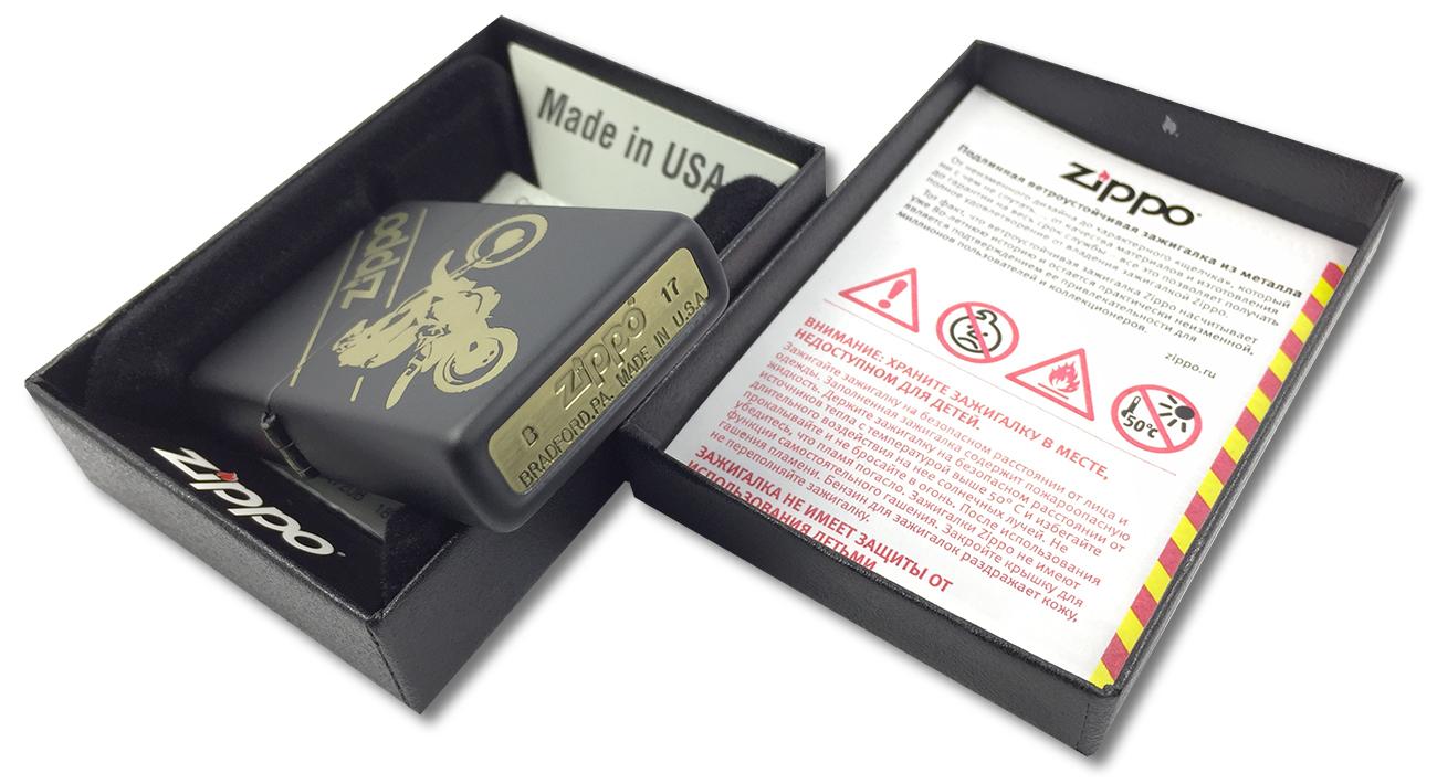 29528 Зажигалка Zippo Motocross, Black Matte - заводской штамп на дне зажигалки
