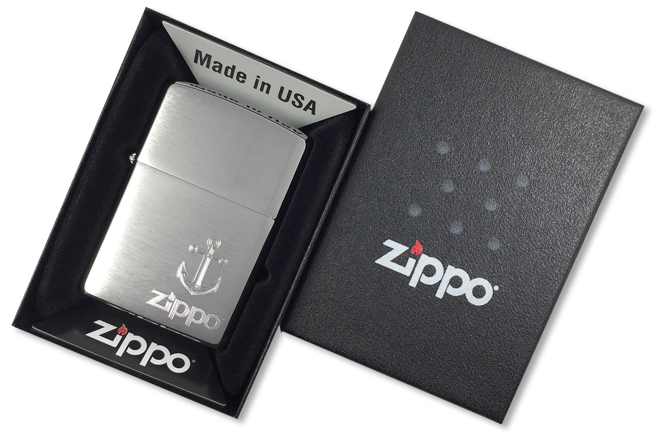 29531 Зажигалка Zippo Anchor, Brushed Chrome - в подарочной коробке