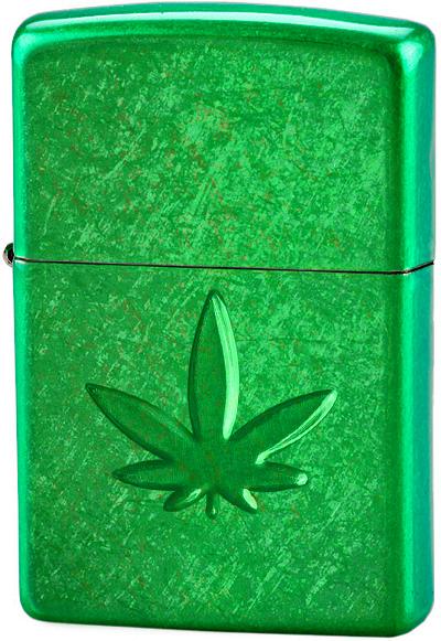 29662 Зажигалка Zippo Stamped Leaf Green, Meadow