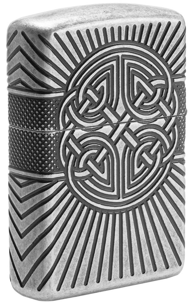 29667 Зажигалка Zippo Armor Celtic Cross Design, Antique Silver - оборотная сторона
