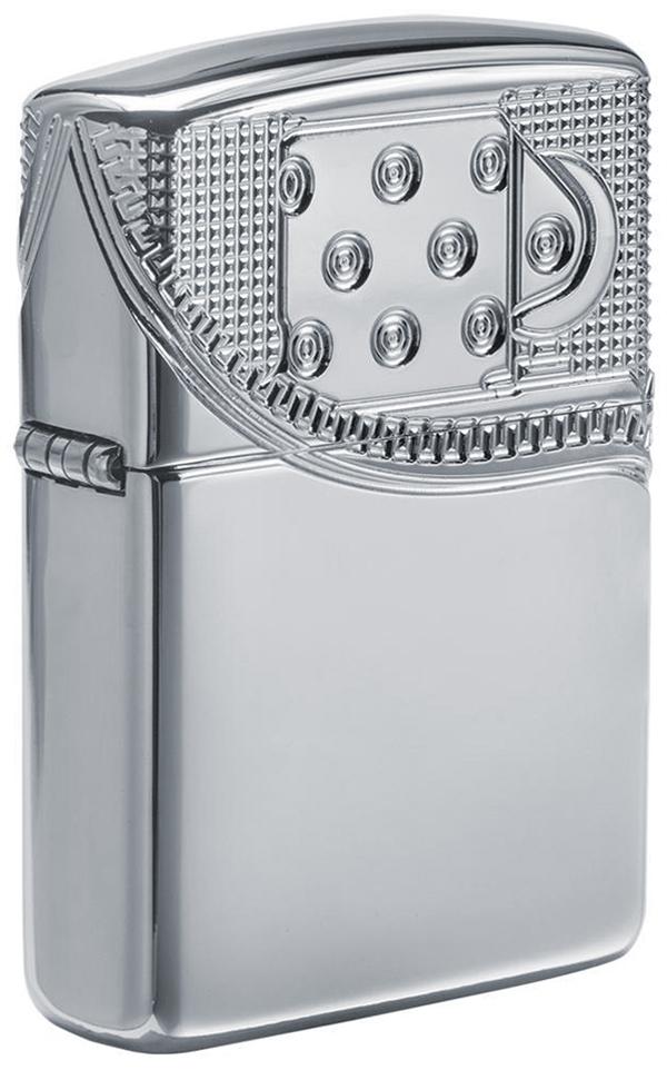 29674 Зажигалка Zippo Armor Zipper Design, Polish Chrome - лицевая сторона