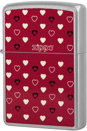 205 Зажигалка Zippo Hearts, Satin Chrome