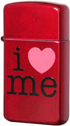 24352 Зажигалка Zippo Slim I Love Me, Candy Apple Red